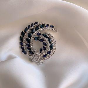 Blue & Crystal Rhinestone Brooch, Avon 120th Ann.